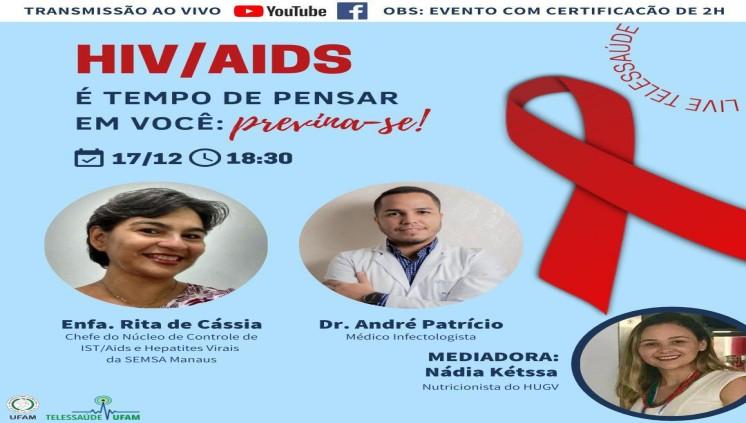 Próxima Live da Telessaúde UFAM abordará tema sobre AIDS