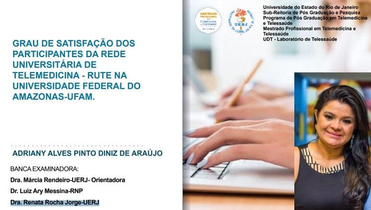 Gerente Multidisciplinar da Telessaúde da Ufam defende dissertação de mestrado sobre atuação da RUTE na universidade